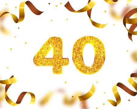 Anniversary Banner 40th, Gold Ribbon Fly. Vector illustration