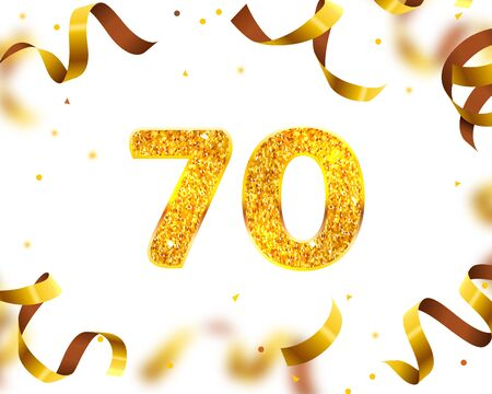 Anniversary Banner 70th, Gold Ribbon Fly. Vector