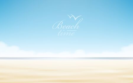 Vector holidays design. Realistic beach sunny seascape.