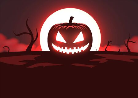 Silhouette of scary pumpkin, zombie hand on moon and fog background. Halloween party graphics design. Vector illustration Фото со стока - 137974512