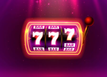 Neon slot machine wins the jackpot. Vector illustration