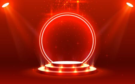 Stage podium with lighting, Stage Podium Scene with for Award Ceremony on red Background, Vector illustration 일러스트