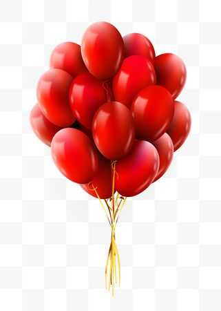 3d Realistic red Bunch of Flying Birthday Balloons. Party and Celebration concept. Vector Illustration. Ilustrace
