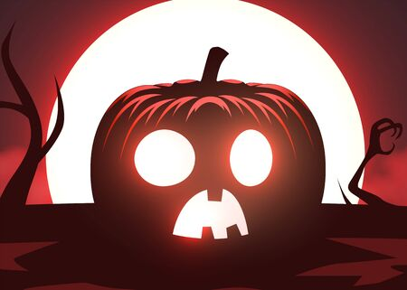 Silhouette of scary pumpkin, zombie hand on moon and fog background. Halloween party graphics design. Vector illustration Фото со стока - 137974012