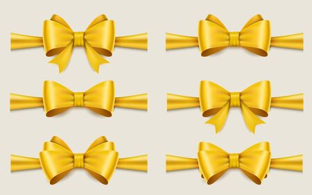 Holiday golden ribbon and bow. Vector illustration