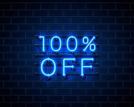Neon 100 off text banner. Night Sign. Vector illustration Illustration