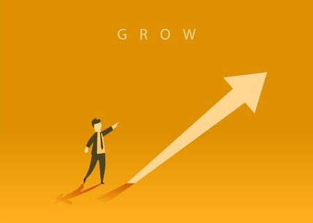Concept of business growth with an upward arrow and a businessman showing the direction. Symbol of success, achievement. Zdjęcie Seryjne - 138005381