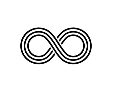 Infinity line symbol on the white background.