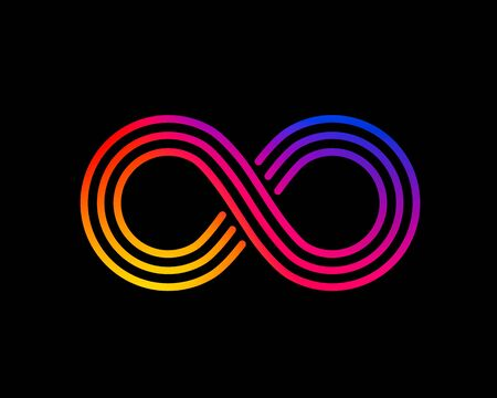 Infinity symbol with color gradient, design element.