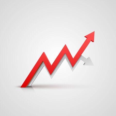 Arrow red business growth art info. Vector Ilustracja