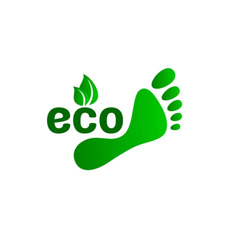 ecology organic green footprint. sign on a white background.