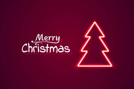 Neon Merry Christmas and happy new year, vector background, design