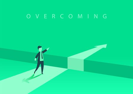 Businessman standing in front of the obstacle, gap on the way to success, business concept of solving the problem. Problems and overcoming obstacles.
