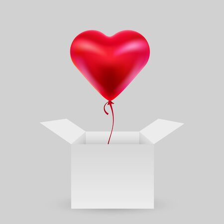 Balloon in the shape of a heart with an open box. Valentine Day. The concept of love. Vector illustration