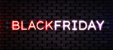 Black Friday realistic neon sign for decoration and covering on brick background. Concept of sale, clearance and discount. Ilustração