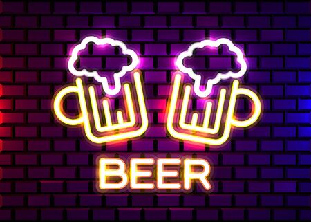 Retro neon Beer Bar sign on brick wall background. Neon design for bar, pub or restaurant business. Craft beer.