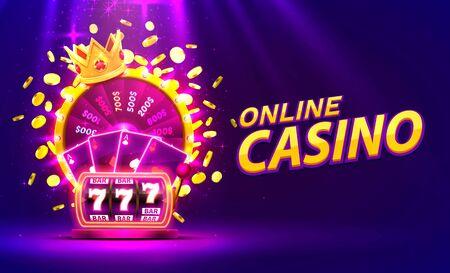 Casino golden colorful fortune wheel, Neon slot machine wins the jackpot.