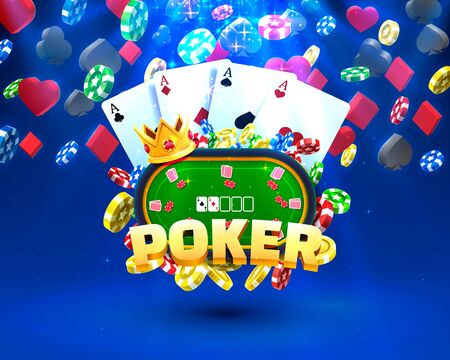 Poker chips and cards casino banner. Isolated on dark background.