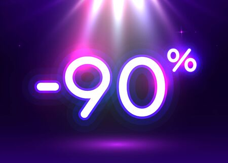 Sale glowing neon sign. Light vector background for your advertise, discounts and business. Banco de Imagens - 138007196