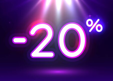 Sale glowing neon sign. Light vector background for your advertise, discounts and business.