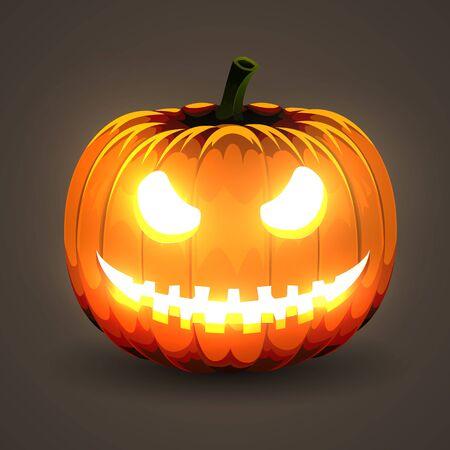 Halloween Pumpkin with glowing eyes on dark background. Фото со стока - 138007429