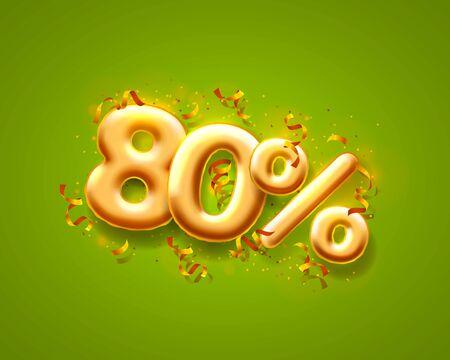 Sale 80 off ballon number on the green background. Ilustración de vector