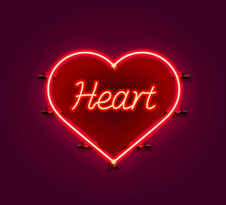 Neon heart signboard on the red background. Banco de Imagens - 138007555