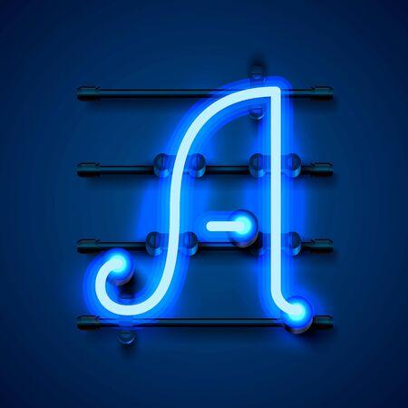 Neon font letter a, art design signboard. Banco de Imagens - 138007401