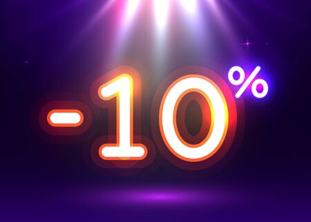 Sale glowing neon sign. Light vector background for your advertise, discounts and business. Banco de Imagens - 138007517