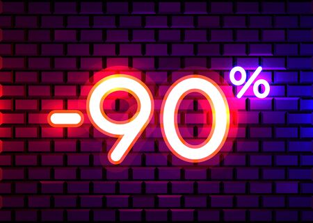 Sale glowing neon sign. Light vector background for your advertise, discounts and business. Banco de Imagens - 138007705