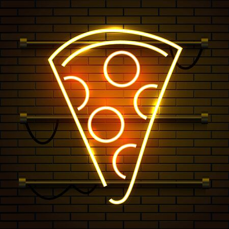 Neon pizza sign on dark brick wall background. Glowing fastfood advertising. Night club invitation. Banco de Imagens - 138007469