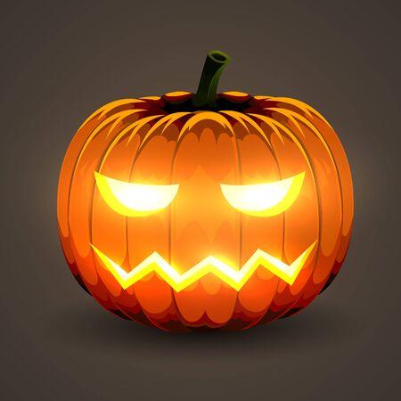 Halloween Pumpkin with glowing eyes on dark background. Фото со стока - 138007732