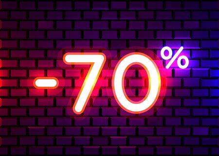 Sale glowing neon sign. Light vector background for your advertise, discounts and business. Banco de Imagens - 138007756