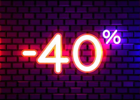 Sale glowing neon sign. Light vector background for your advertise, discounts and business. Banco de Imagens - 138007963