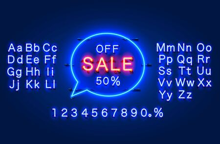 Neon chat frame 50 off text banner. Night Sign board. Vector illustration
