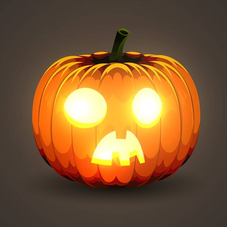 Halloween Pumpkin with glowing eyes on dark background. Иллюстрация