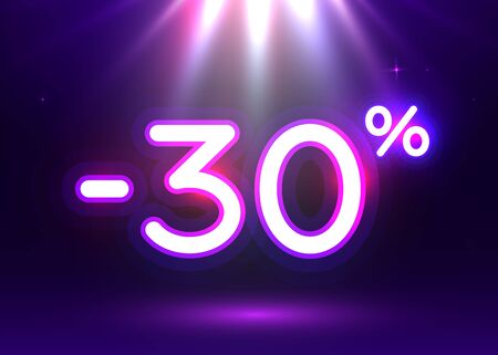 Sale glowing neon sign. Light vector background for your advertise, discounts and business. Banco de Imagens - 138008322