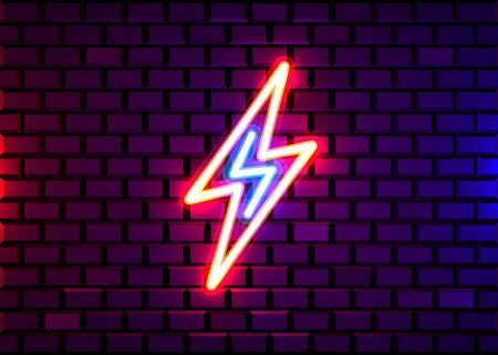 Realistic isolated neon sign of energy for decoration and covering on the wall background. Concept of lightning, thunder and electricity.