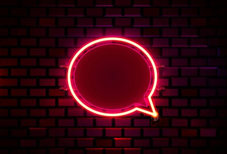 Neon frame sign in the shape of a chat. template design element.