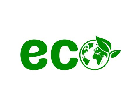 Ecology organic green planet earth. sign on a white background. Vector illustration Çizim