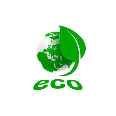 Ecology organic green planet earth. sign on a white background. Vector illustration Ilustrace