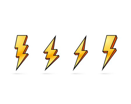 Electric lightning, set of icons on a white background. Vector illustration Çizim