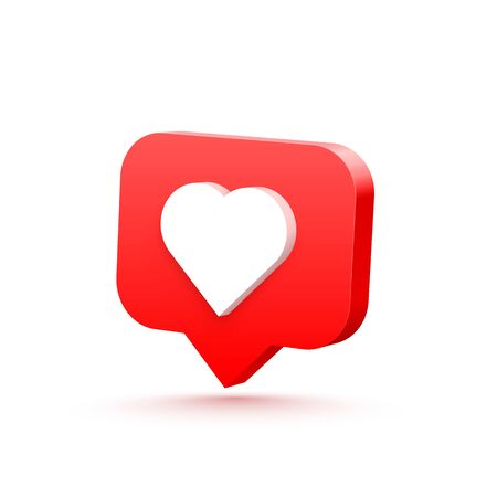 3d heart like social network. white background. Vector illustration Ilustração