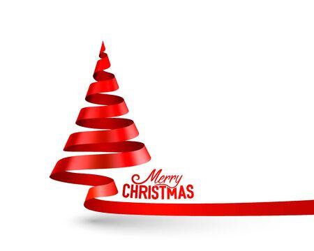 Christmas tree tape design banner, art decoration. Vector illustration