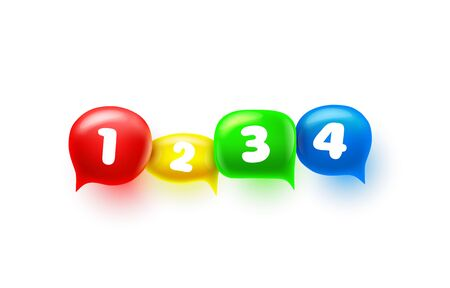 Chat sign colored information numbers, design element. Vector illustration