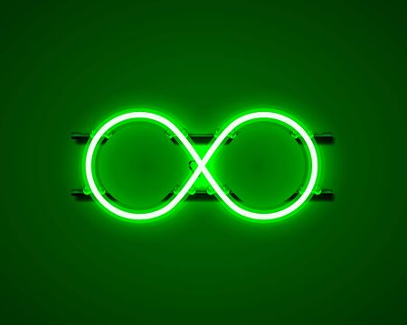 Infinity neon symbol on the green background. Vector illustration
