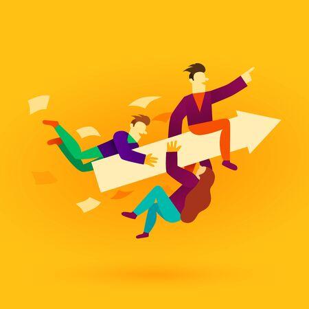 Business team ride arrow. Concept business success vector illustration. Flat cartoon character style.