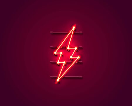 Neon sign of lightning signboard on the red background. Vector illustration