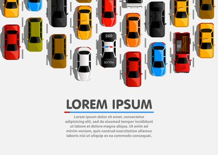 Traffic jam on the road. Road transport. Highway banner. Vector background Çizim