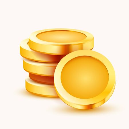 Stack of golden coins isolated on white background. Vector illustration